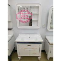 Quality White / Blue Painting Washbasin Mirrored Bathroom Cabinet With Legs wholesale
