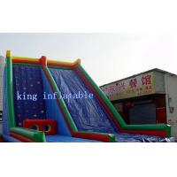 China Custom Blue Inflatable Water Slide , Kids Entertainment Climbing Wall Inflatable Toys Slide on sale
