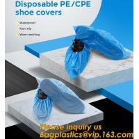 Quality Safety Products Equipment Indoor Disposable medical plastic shoe covers waterproof PE CPE material,PE material blue shoe wholesale