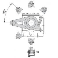Torque arm for worm helical gear unit