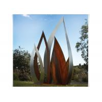 China Metal Garden Ornament Botanical Corten Steel Leaf Sculpture with Rusty Finish on sale