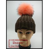 Quality Classic Style Real Big Cut Raccoon Fur Pom Pom Knitted Beanie Hat wholesale