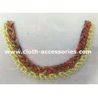 China Yellow And Red Handmade Beaded Necklaces Knitting For Garment Accessories on sale