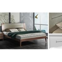 Cheap 2017 New design Upholstered Bedroom furniture By Italy Leather and Walnut solid wood Headboard in Hotel room for sale
