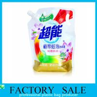 China Custom Made Standup Squeezing Liquid Spout Bags , Plastic  Spout pouch for detergent packaging on sale