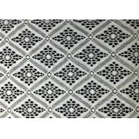 Quality White Damond Shaped Enchanting Polyester Lace Fabric Roll / Floral Lace Fabric wholesale