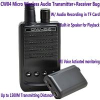 Cheap CW04 Mini Wireless Remote Audio Transmitter Receiver Spy Bug W/ Voice Recording for sale