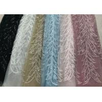 Quality Blue Shiny Embroidered Leaf Lace Fabric With Beads And Sequins 120CM Width wholesale