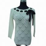 Quality Ladies' crewneck long sleeve jumper, made of 100% acrylic wholesale