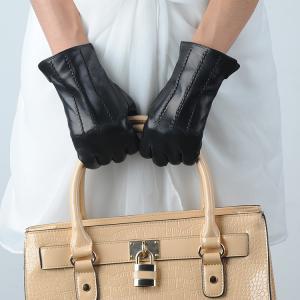 Quality 10W-659 lady/women sheepskin black leather gloves wholesale