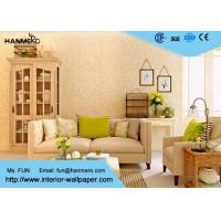 China Flocking Modern Removable Wallpaper for Living Room with Warm Beige Floral on sale