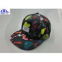 Quality Polyester Custom Printed Unisex 5 Panel Camp Cap With Woven Label on the Front wholesale
