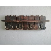 China 15.75 inch, 4 Pieces Double Metal Hooks, Wood Wall-Mounted Coat Rack on sale