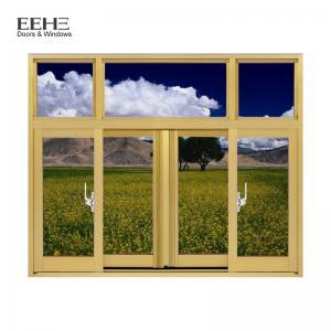 Quality Champagne Aluminium Section Sliding Window / Office Aluminium Sash Windows wholesale