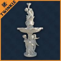 Quality White Boy Stone Garden Water Fountains Polished With Fish Water Spout wholesale
