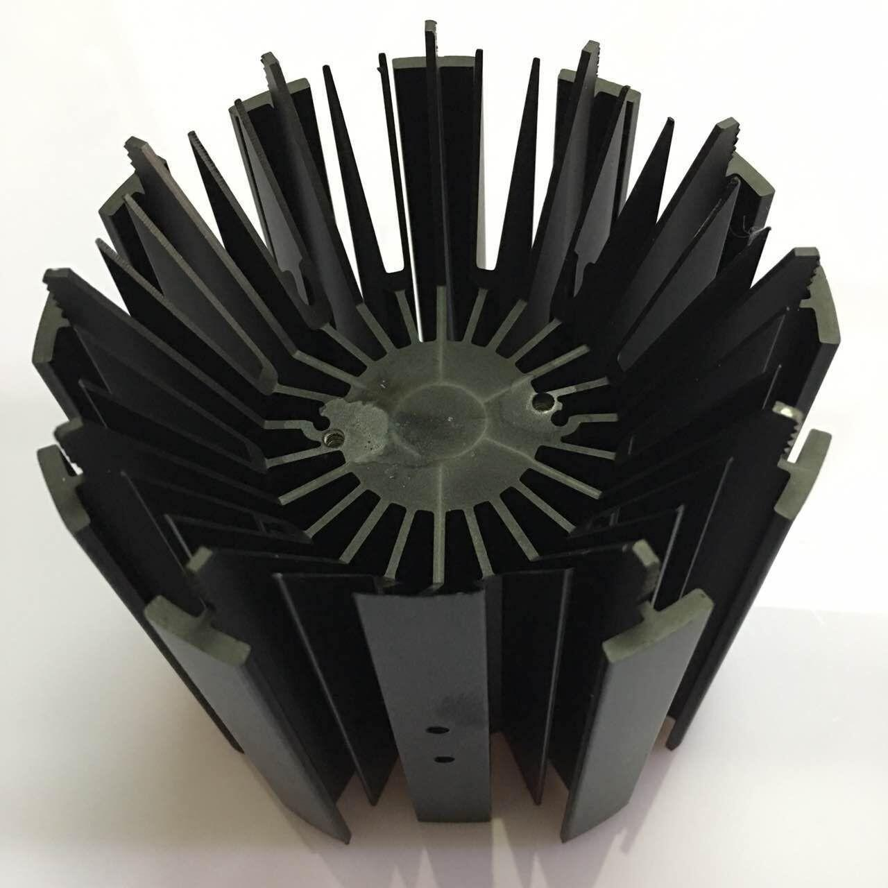 Quality CNC Machining LED Module Street Light Aluminum Heat Sink Profiles with Black Anodizing Color wholesale