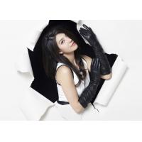 Quality Classic Ladies Long Sheep Lambskin Black Leather Gloves With Viscose Lining wholesale