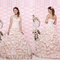 Quality Strapless Bustled Gown with Silk Shantung Covered Buttons Down Back, ODM Orders are Welcome wholesale
