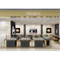 Quality S/S + MDF + Glass + Lights Gold Jewellery Showroom Interior 3D Design wholesale