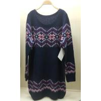Quality Ladies Jacquard Sweaters Women Oversized  Knitted Wool Dress Snow Patterns wholesale