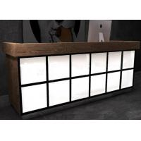 Quality Luxury Wooden Veneer Surface Grocery Store Checkout Counter With Lighting Box wholesale