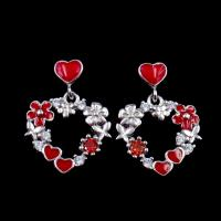 OEM Silver Cubic Zirconia Earrings , Heart Enamel 925 Sterling Silver Earrings For Birthday Gift