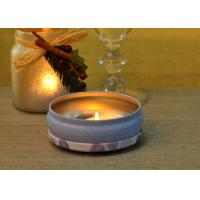 Quality 560ml Purple Printed Tin Candle Holders Refillable Wax Container wholesale