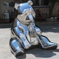 Quality Modern Outdoor Panda Metal Animal Sculptures Stainless Steel Garden Ornaments wholesale
