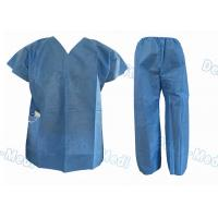 Quality Short Sleeve Disposable Protective Apparel Over Lock Sewing Scrub Suit With Pocket wholesale