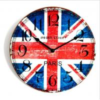 China Retro Vintage Quartz Wall Clock Modern Home Decor MDF Wooden Wall Clock on sale