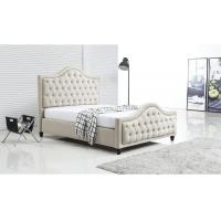 Quality Upholstered Silver Crushed Velvet Double Bed With Diamonds Plush Design wholesale