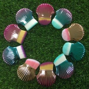 Shell Makeup Brushes 8 cm Total Length Multicolor Handle Plastic Ferrule Material