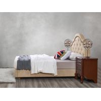 Cheap Leather / Fabric Upholstered Headboard Bed for Hotel Bedroom interior Furniture with Wooden nighstand in Cheap price for sale
