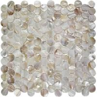 Quality Round Mother Of Pearl Bathroom Tiles Fresh Water Seashell Decor 2mm Thickness wholesale