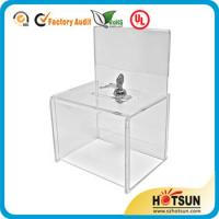 Cheap Waterproof Lockable Acrylic Donation / Suggestion Boxes with Card Holders for sale
