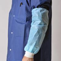 China Blue Nonwoven Disposable Sleeve Covers Arm Protectors Oil Proof With Knitted Cuff on sale