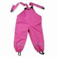 Quality Girl's Rain Pant, Made of PU Material, Available in Pink, with Reflective Tape wholesale
