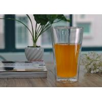Quality Long clear heat resistant Double Wall Borosilicate Glass in Lemon juice drinking wholesale