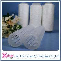 China AAA Grade 402 Raw Pattern 100% Spun Polyester Yarn On Plastic Cone on sale