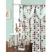 Mosaic Leaf Green Pink Polyester Fabric Shower Curtain Home Shower Curtains 104399588