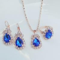 China Fashion zircon jewelry sets,necklace earrings rings jewelry sets, silver gold plated jewelry sets for bride on sale