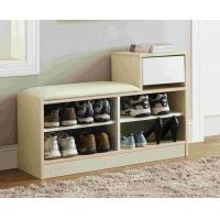 Quality White Modern Narrow Home Shoe Cabinet Cushion Bench With PB Board Frame wholesale