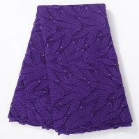 Quality Latest Leaf Design Purple Guipure Swiss Lace Embroidery Fabric For Party Dress wholesale