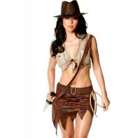 Quality Indiana Jane Jungle Sexy Lingerie Catwoman Costume , Wild West Cowgirl Fancy Dress wholesale