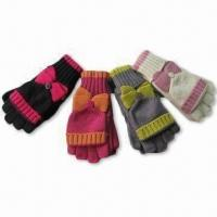 Quality Half Fingers Gloves with Cover and Bow, Made of Acrylic wholesale