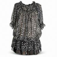Quality Chiffon Blouse with 100% Polyester, Suitable for Women, All-over Printing wholesale