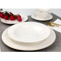 Quality Exquisite White Porcelain Dinner Sets Tableware With Real Gold Line wholesale