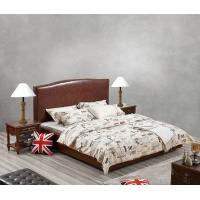 Quality Glassic design of Leisure Bedroom Furniture Upholstered Headboard Bed by True Leather with High density Sponge covered wholesale