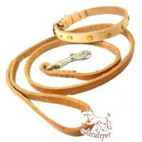 China soft leather dog leash for small dogs with collar on sale