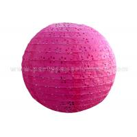 Quality Round Pink Blue Eyelet Paper Lantern , multi colored paper lanterns for bedrooms wholesale